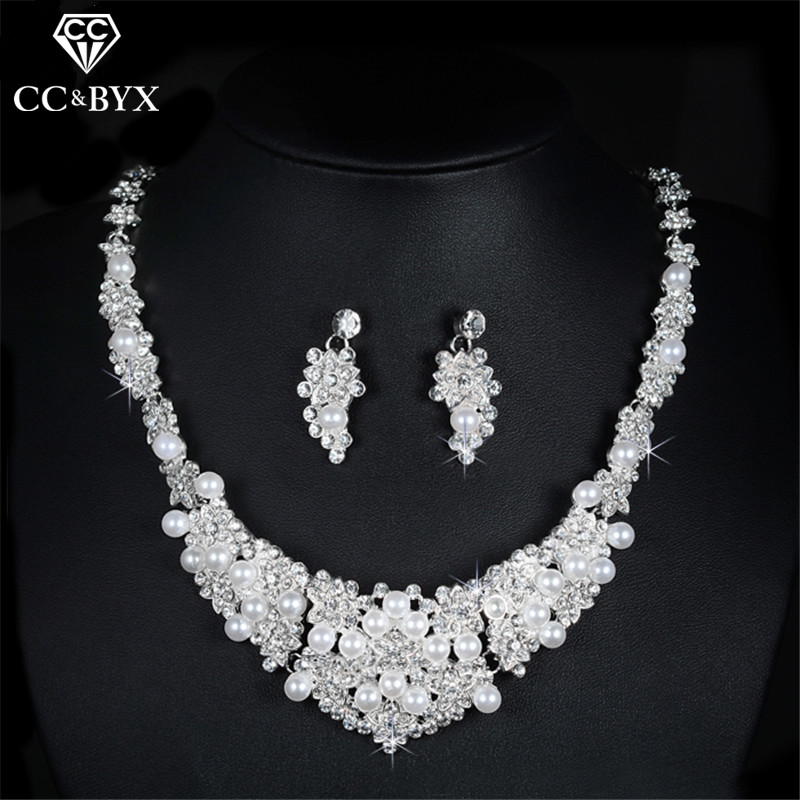 Heart Pearl Bridal Jewelry Sets Crystal Wedding Engagement Earring and Necklace Set for Women Lady's Party Accessories D019