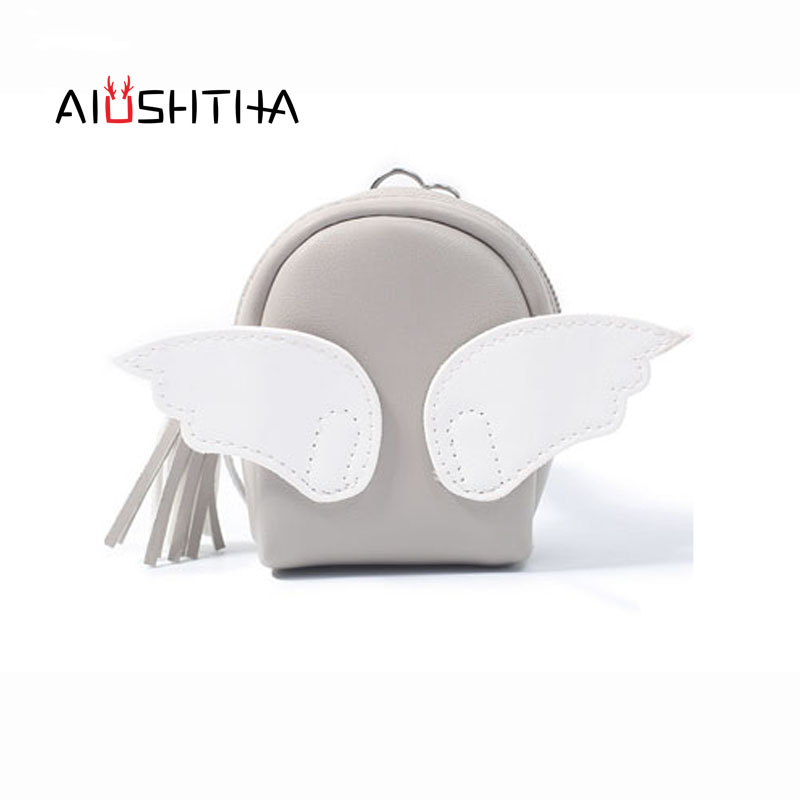wing coin purses women wallets angle small mini cute cartoon card holder key headset money bags for girls ladies purse pink gold