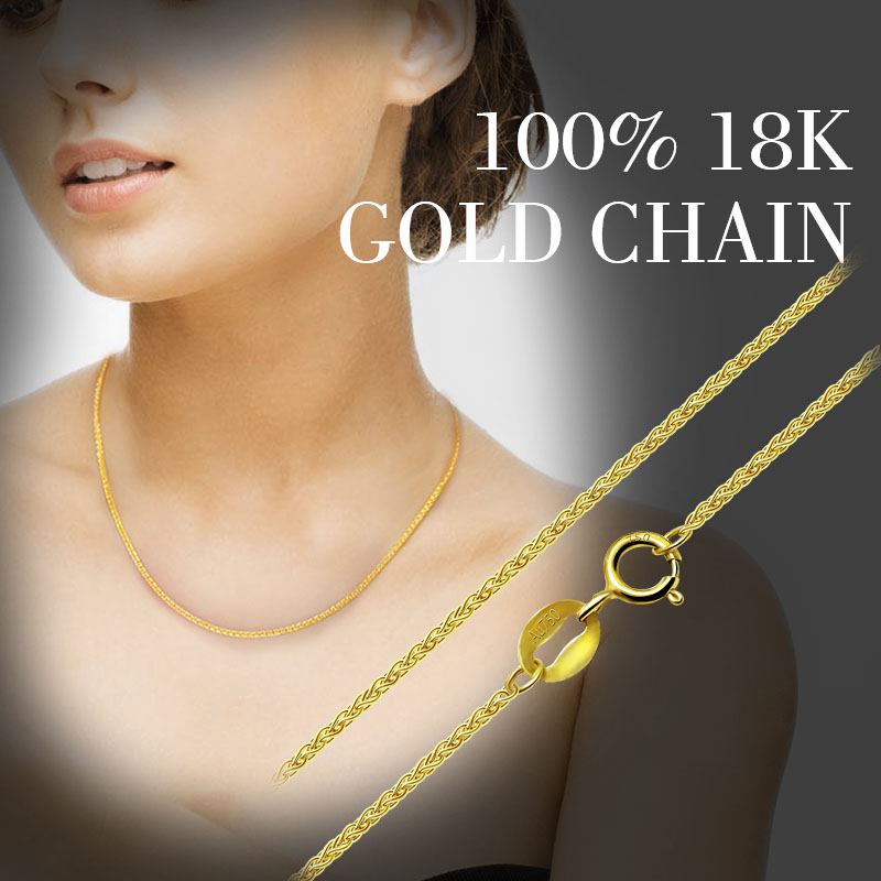 ZHIXI 18K Gold Jewelry Genuine 18K Yellow Gold Chain Long Real Au750 Necklace Pendant Wedding Party
