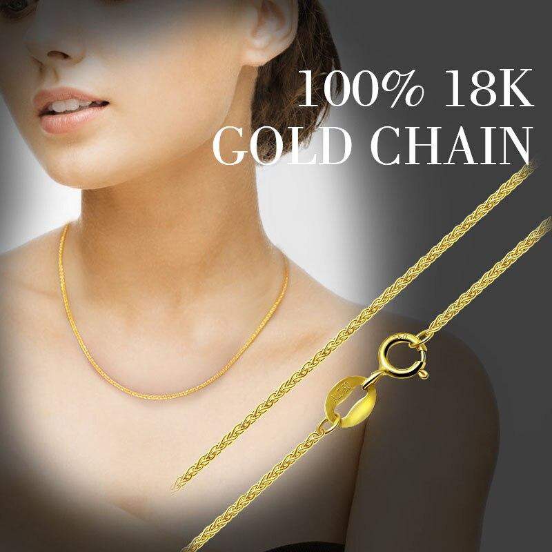 ZHIXI 18 K bijoux en or véritable 18 K chaîne en or jaune Long véritable Au750 collier pendentif cadeau de fête de mariage pour les femmes ZXX312