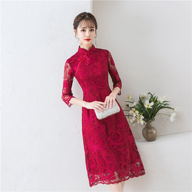 Vintage Lace Slim Chinese Bride Wedding Cheongsam Oriental Women Sexy Hollow Out Qipao Elegant Mandarin Collar Daily Dress