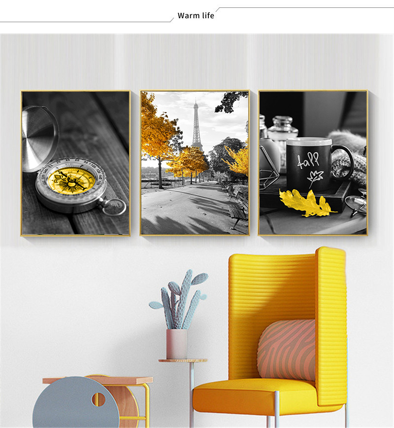 HTB1fyIEXoGF3KVjSZFvq6z nXXaP Black and White Photograph Landscape Picture Home Decor Nordic Canvas Painting Wall Art Yellow Scenery Art Print for Living Room