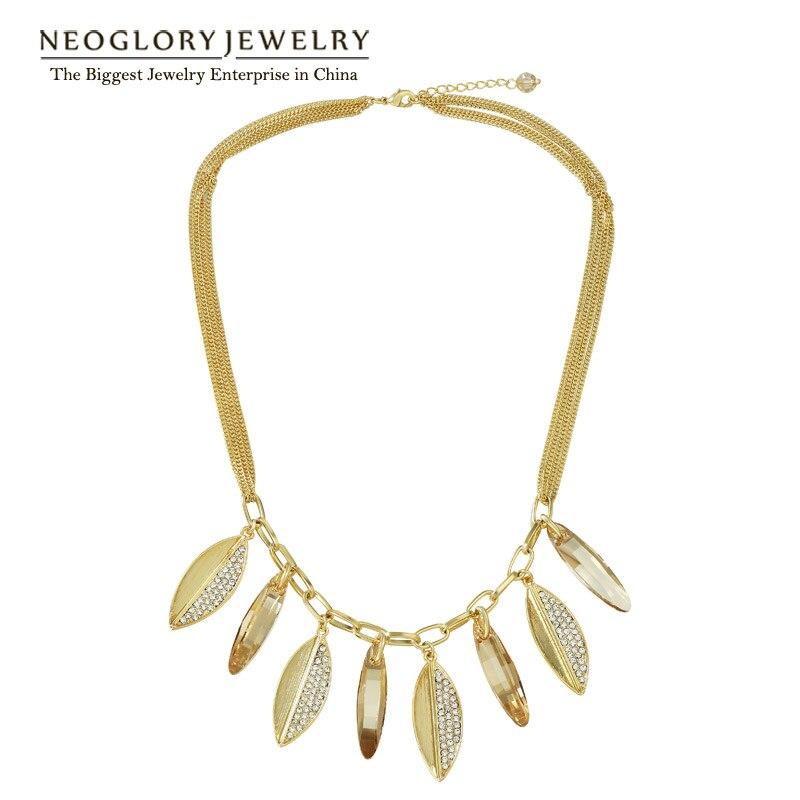 Colliers de chaîne en strass Neoglory pour femmes bijoux 2019 marque de mode ornée de cristaux de Swarovski