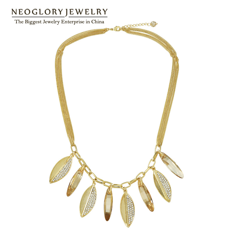 Neoglory Rhinestone Chain Necklaces for Women Jewelry 2019 Brand Fashion Embellished with Crystals from Swarovski