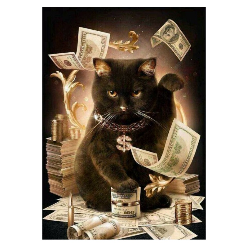 3D Diy Diamond Painting Cat With Cash Square Rhinestones Cross Stitch Crystal Mosaic Embroidery Home Decoration A