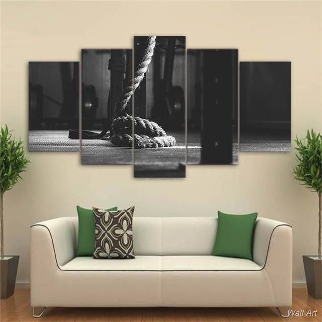 Hd printed 5 piece canvas art crossfit gym painting fitness