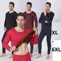 Плюс размер xl-5xl 6xl 7xl 2016 зима мужской утолщаются тепловой бархат лонг джонс double слоев теплый футболка + высокая талия брюки наборы