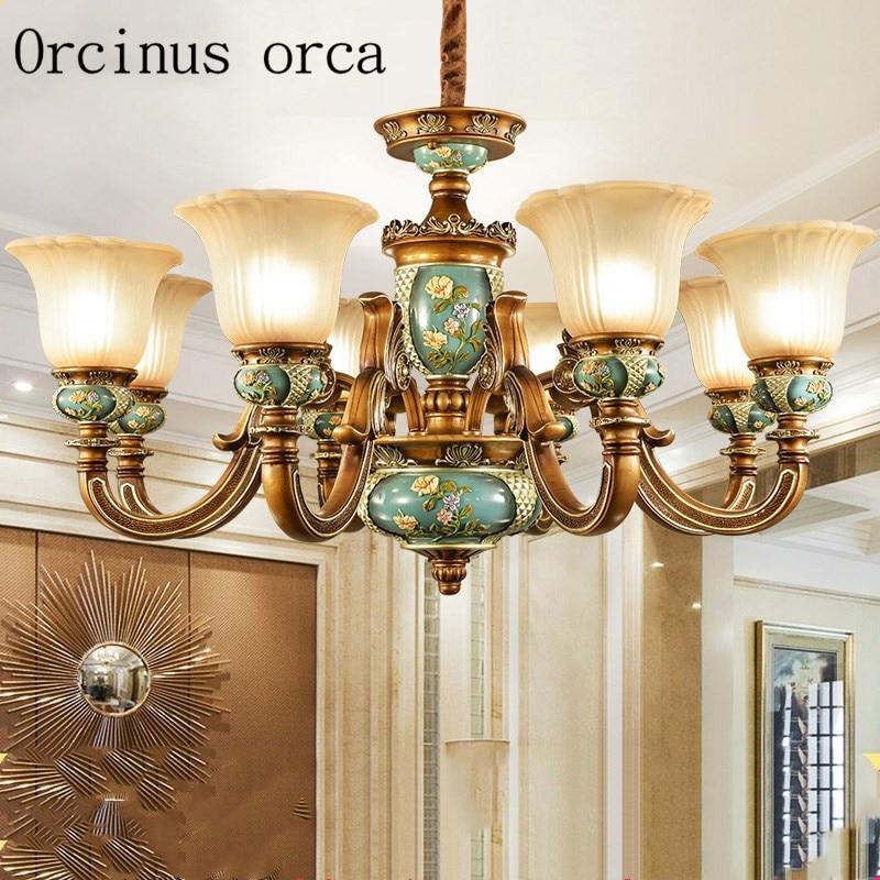 купить European style retro luxury resin chandelier living room dining room bedroom American Creative Chandelier free shipping недорого