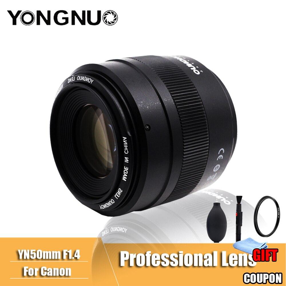 YONGNUO D'origine YN50mm F1.4 Lentille Grande Ouverture Auto Focus Lens pour Canon EOS 70D 5D2 5D3 600D DSLR Caméra Len 2018 Nouveau