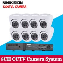 Security DVR NVR HVR 960H 8CH DVR Kit 1/3″CCD 1200TVL Dome Indoor/Outdoor CCTV Camera System for IP Camera with 1TB HDD