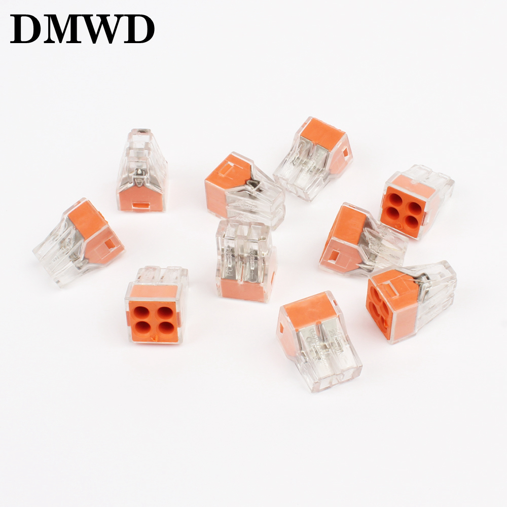 Free shipping 10Pcs PCT-104 Push wire wiring connector For Junction box 4 pin conductor terminal block
