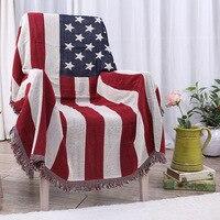 Hot! American Flag Blanket Cotton Jacquard Sofa Throw Blanket Bohemian Tapestry Bedspread Tablecloth Travel Plaids 180x230cm