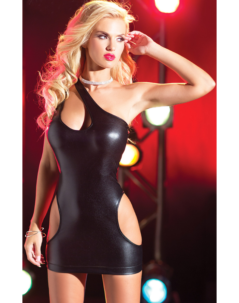 Faux Leather Fabric Bodycon Dress Sexy Clubwear Party