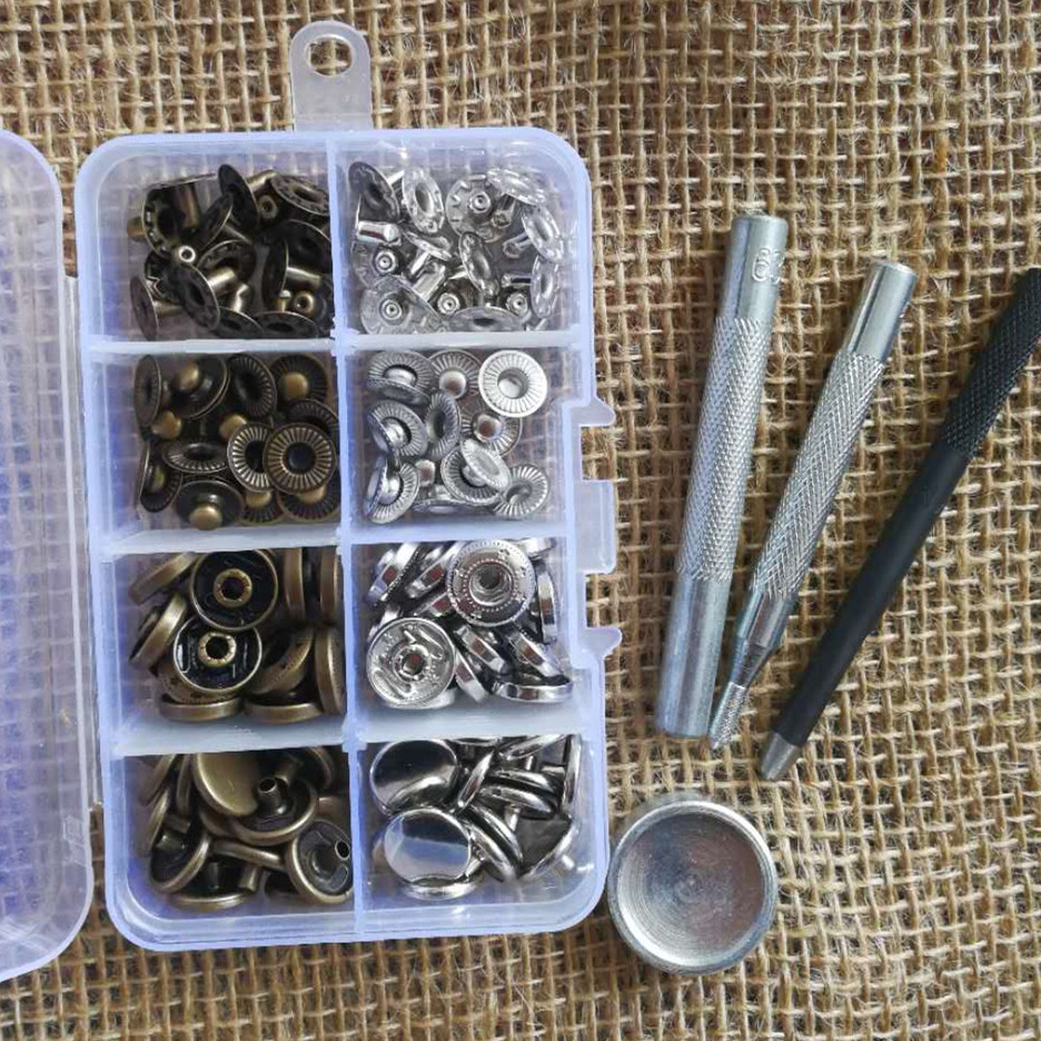 4-Part Press Studs Prongs Bronze Snap Fasteners-12mm in Heavy Duty Fixing Craft