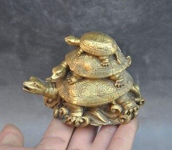 Чистая медь три поколения черепаха, золото, черепаха украшения дома фэншуй.