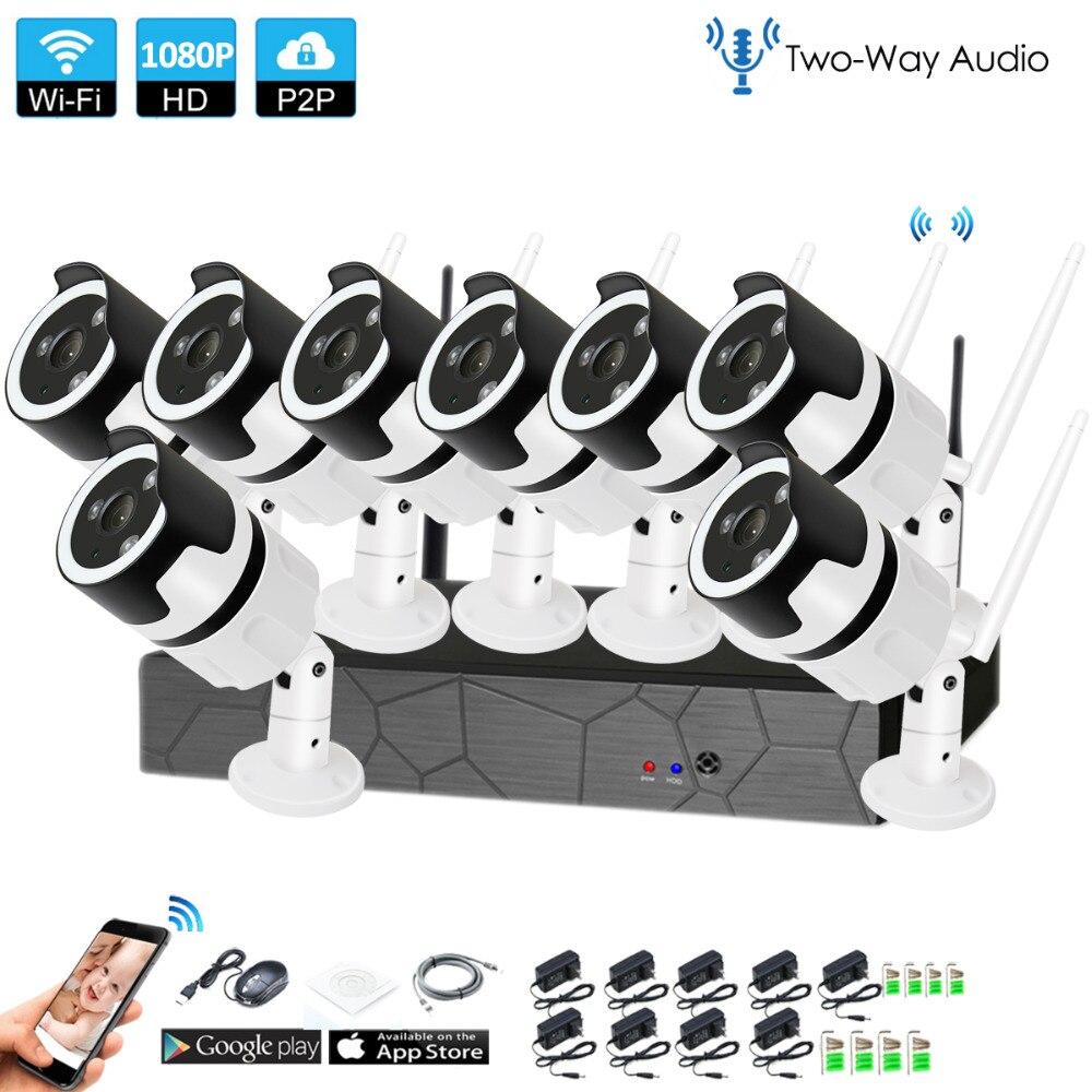 8CH de dos vías de audio hablar HD inalámbrico NVR Kit P2P 1080 P de interior al aire libre de la visión nocturna IR seguridad 2.0MP IP cámara WIFI Sistema de CCTV