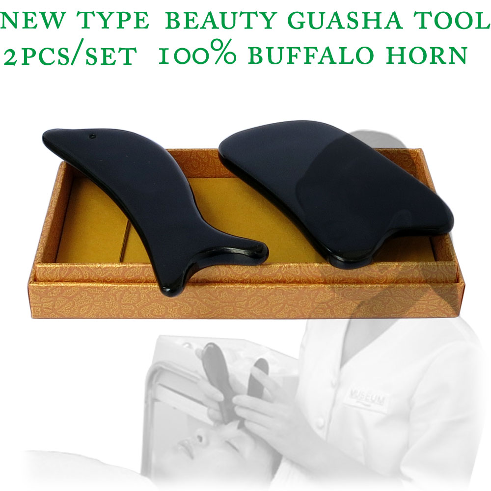 2pcs/set New type 100% buffalo horn thicken high polishing beauty guasha tool 1pcs square + 1pcs dolphin plate new arrival 100% buffalo horn thicken high polishing beauty guasha tool 1pcs square 1pcs dolphin plate