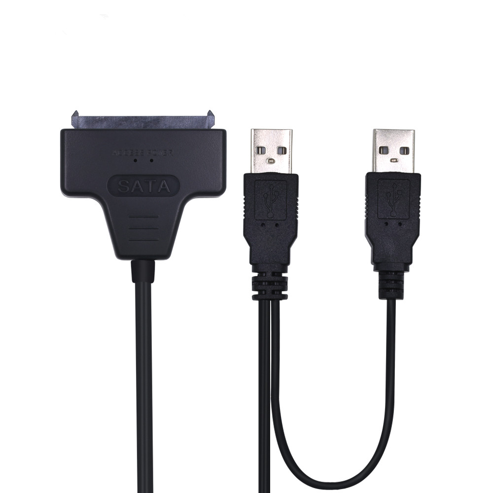 Plastic USB 2.0 To SATA 22 Pin 2.5 Inch Laptop Hard Drive HDD SSD Adapter Cable 50CM HDD Converter With Extra USB Power Cable usb male to 15pin sata female adapter power cable cord 18awg 30cm for laptop 2 5 hard drive hdd ssd