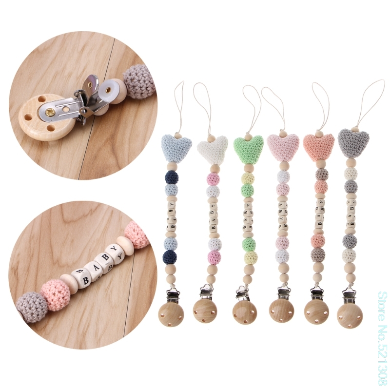 Wooden Bead Dummy Clip Holder Pacifier Clips Soother Chains Baby Teething Toy Drop Ship Feeding Pacifiers Leashes & Cases