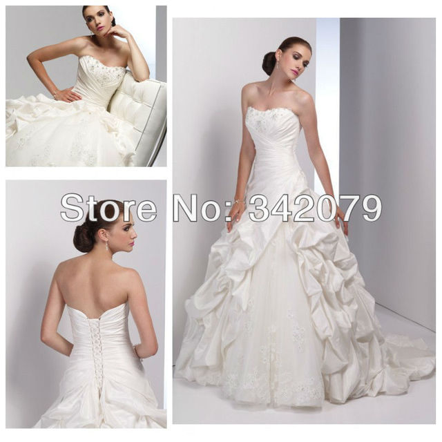 Lace wedding dress with pickups