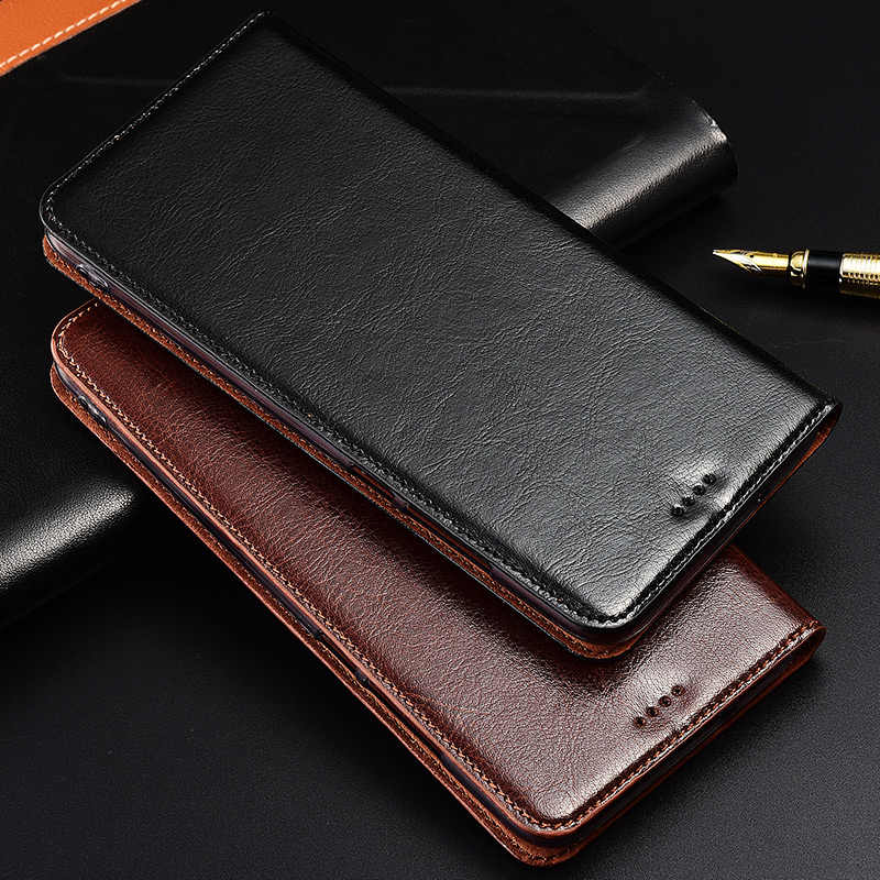 Genuine Cow Leather Case For Huawei Ascend P10 P20 Lite Plus Pro Magnetic Case Stand Flip Phone Cover
