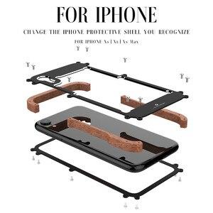 Image 2 - Telefon kılıfı için iPhone XS Max orijinal r just ahşap tampon Metal kasa iPhone XS için XR alüminyum çerçeve telefon kılıfları aksesuarları