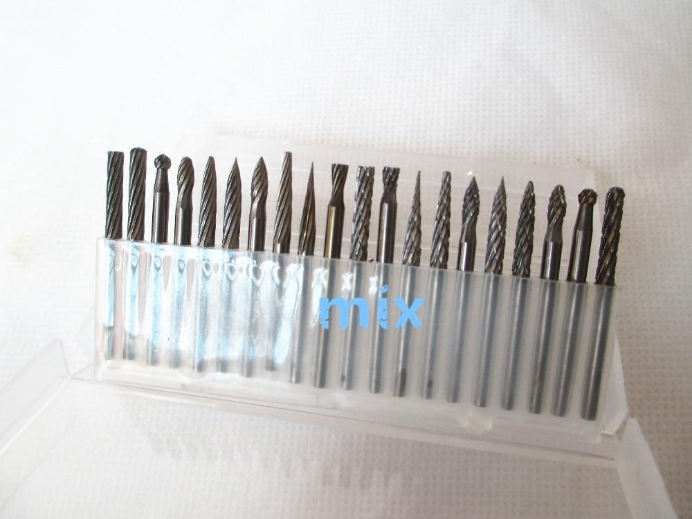 20ks 3mm stopka wolframová ocel pevný karbid rotační pilníky diamantové otřepy sada se hodí dremel nástroj pro řezbářství gravírování