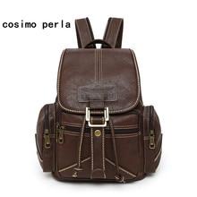 hot deal buy high quality vintage causal fashion backpacks women drawstring mochila mujer 2018 stylish soft leather rucksack large travel bag