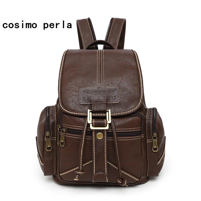 Large Drawstring Vintage Causal Backpacks for Women Mochila Mujer 2021 Stylish Soft Leather Rucksack Travel Bag
