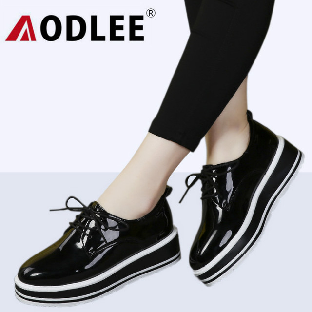 AODLEE Spring Autumn Platform Leather Shoes Women Creepers Casual Shoes Woman Flats Lace-Up Black Ladies Shoes Zapatos Mujer