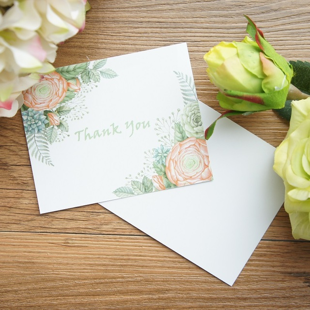 multi use 50pcs mini thank you card watercolour green flower style