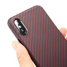 Ultra cienkie czerwone z włókna aramidowego pokrowiec na iPhone X XS pokrywa luksusowe wzór z włókna węglowego dla iPhone XR XS MAX przypadku
