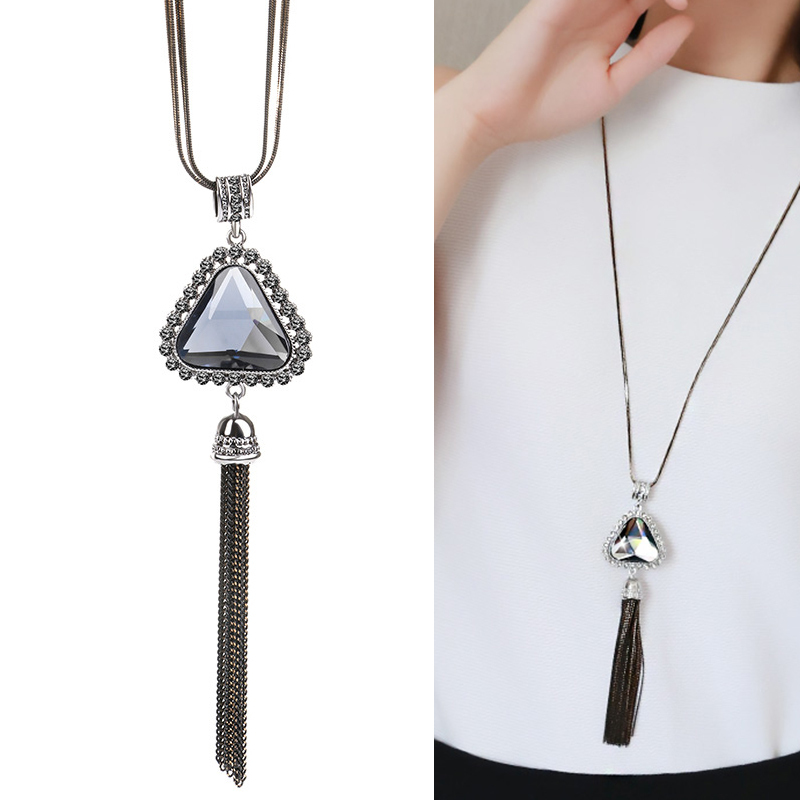 Meyfflin Long Colliers et pendentifs pour femmes Collier Femme Géométrique Déclaration C