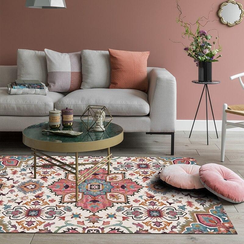 Géométrique fleur Art tapis Simple moderne rectangulaire tapis chambre salon haute qualité tapis de sol