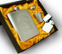 Free Gift Of A Lighter 7oz Hip Flask Set Portable Stainless Steel Flagon Wine Bottle Gift