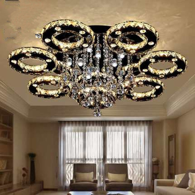 Modern Led Crystal Ceiling Lights For Living Room Luminaria Teto Cristal Lamps Home Decoration Three Color