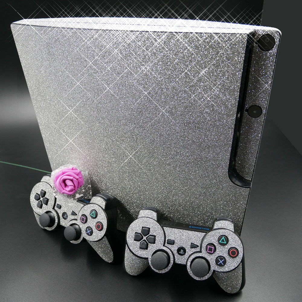 Shining Silver Bling Glitter Skin Sticker for Sony PS3 Slim PlayStation 3 Slim and 2 controller Skins Stickers Protector title=