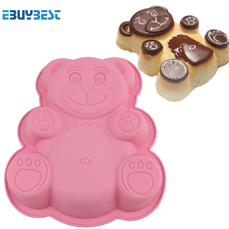 Kitchen Bakeware Tools Cartoon Bear Shape 3D Silicone Cake Moulds DIY Cake Moulds Baking Mold Pan For Birthday