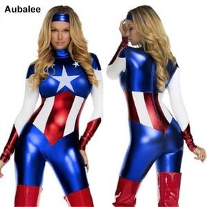 2018 Captain America Costume Superhero Cosplay Women Skinny Zentai Suit Ladies Captain America Role Play Movie Costume