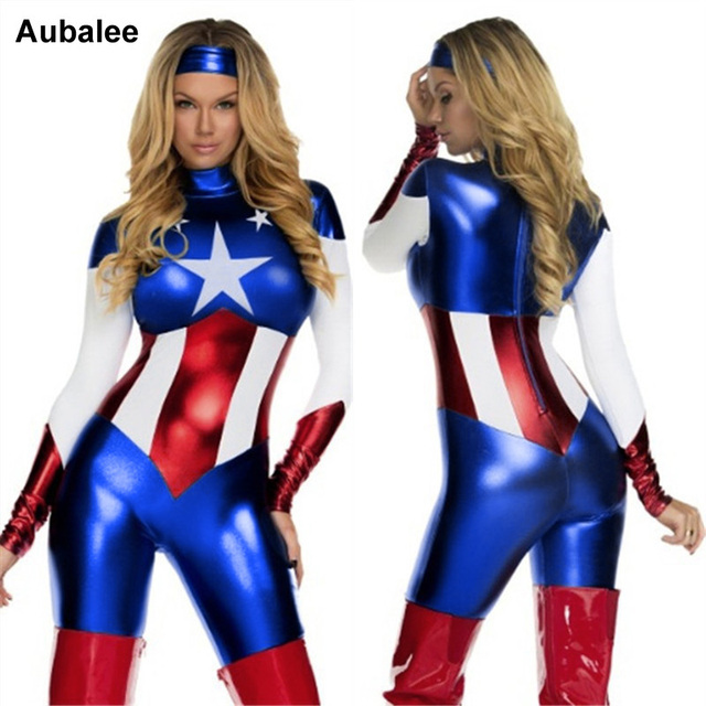 Superhelden Dames Kostuums.Us 21 99 2018 Captain America Kostuum Superheld Cosplay Vrouwen Skinny Zentai Pak Dames Captain Amerika Rollenspel Film Kostuum In 2018 Captain