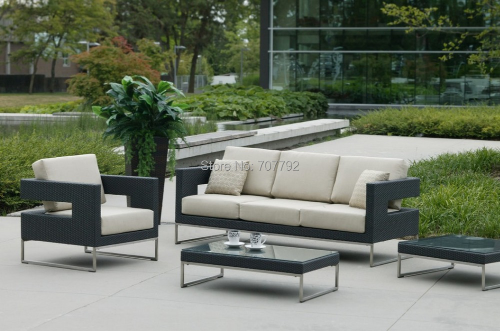 2553940b77c All weather outdoor furniture garden Patio rattan sofa set-in Garden ...