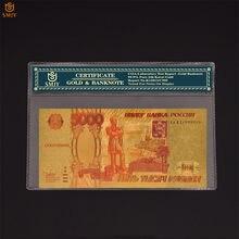 Rosyjski kolor złoty banknot 5000 rubli Plad Gold 999999 Money Bill replika kolekcja banknotów na prezenty