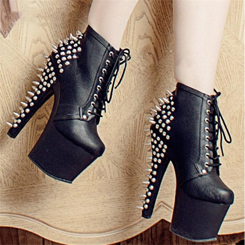 BBZAI Four season Round Toe Rivets Lace-UP platform 17cm Thin Heels shoes Fashion Motorcycle Ankle Boots PUNK pumps botas mujer