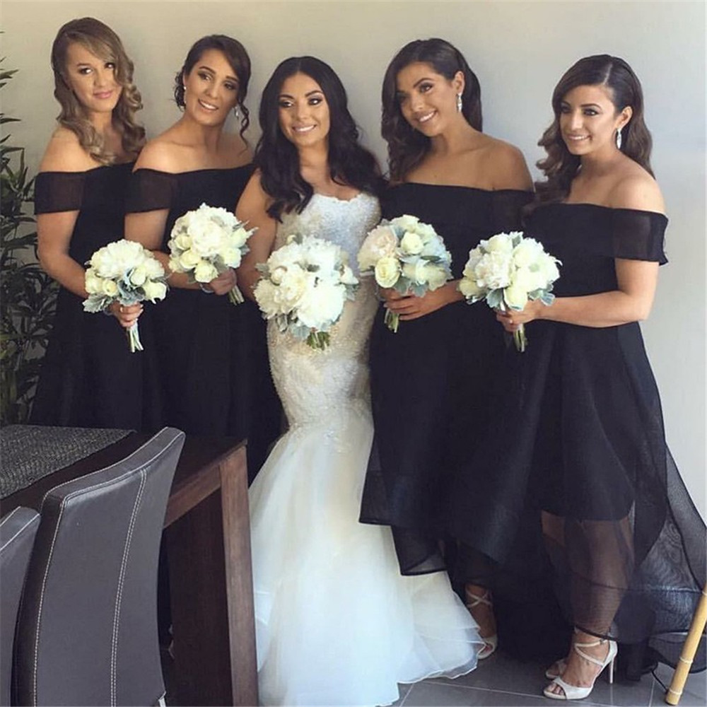 Simple Black High Low Bridesmaid Dress Off The Shoulder