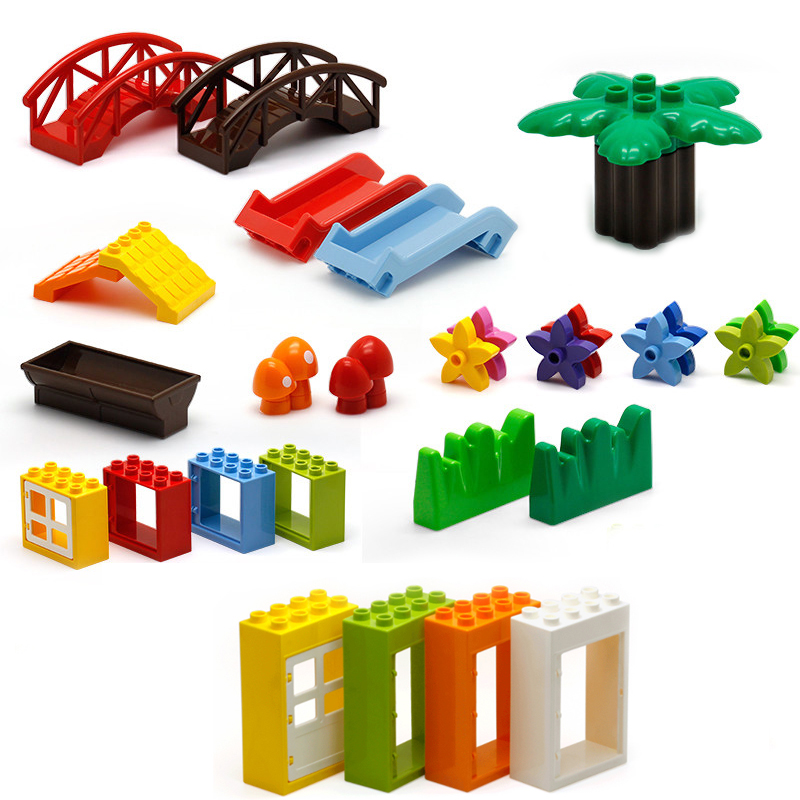 DIY Farm Life Series Large Particles Grass Tree Brick Building Blocks  Compatible With DuploING Education Toy For Children Gift