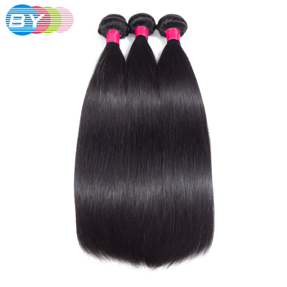 BY Straight Hair Bundles 3 Brazilian Hair Weave Bbundles 100% Remy Human Hair Bundles Natural Color Double Weft Hair Extension-in 3/4 Bundles from Hair Extensions & Wigs    1