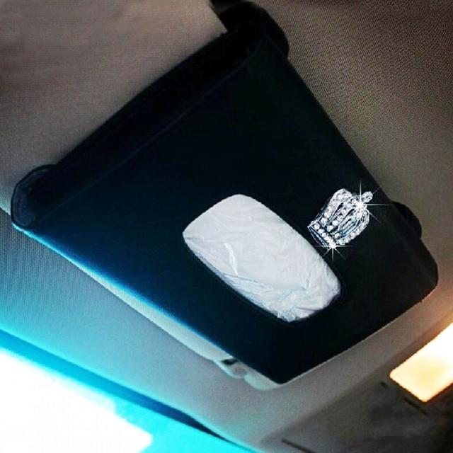 Car Sun Visor Tissue Holder PU Leather with Crown Auto Tissue Box Case Black Paper Towel Napkin Bag For Sunvisor Accessories