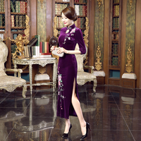 High Quality Chinese Style Women S Velvet Qipao Cheongsam Lady Spring Casual Floral Dress Plus Size