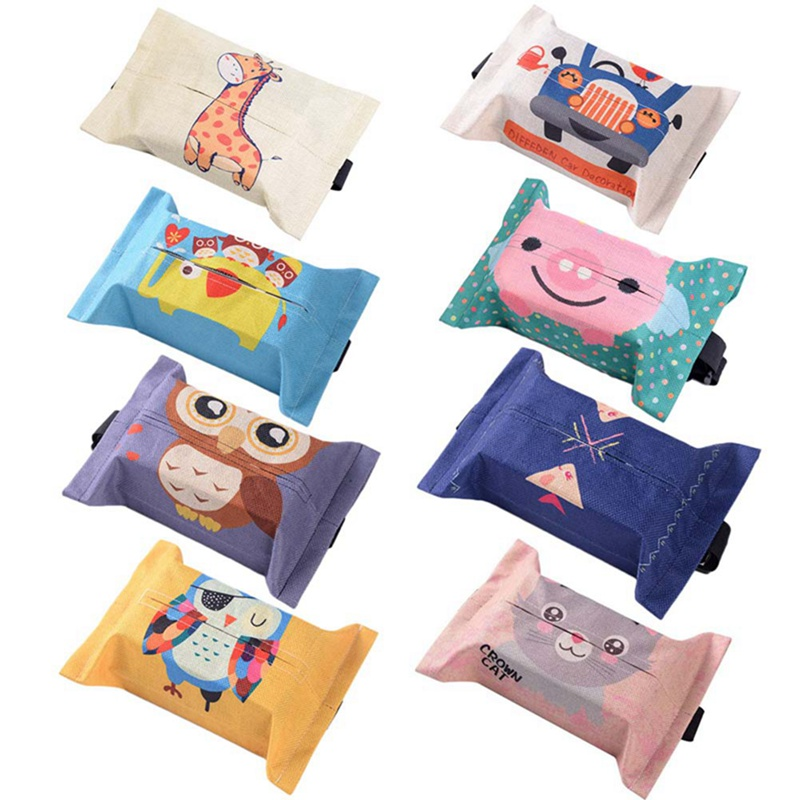 Cartoon Cloth Car Seat Back Hanging Storage Tissue Case Box Container Towel Napkin Papers Bag Holder Box Case partol removable car tissue box car sun visor tissue paper holder cartoon auto seat back armrest hanging paper napkin container