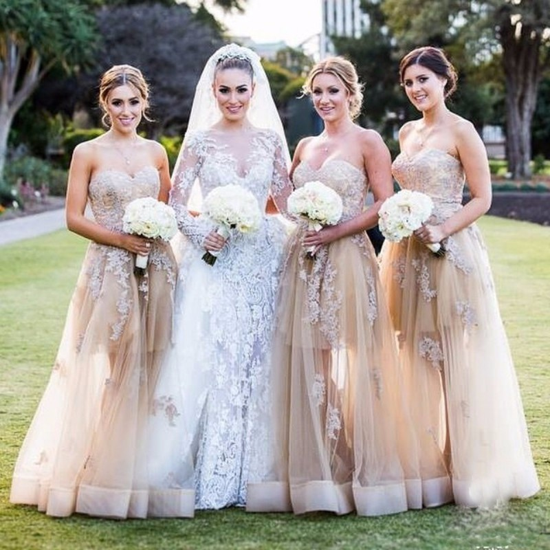 New Arrival Champagne Tulle A-Line   Bridesmaid     Dresses   2018 Sweetheart Appliques Lace Off Shoulder Gowns For Wedding Party